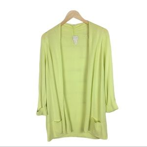 Chico's yellow/green open front cardigan